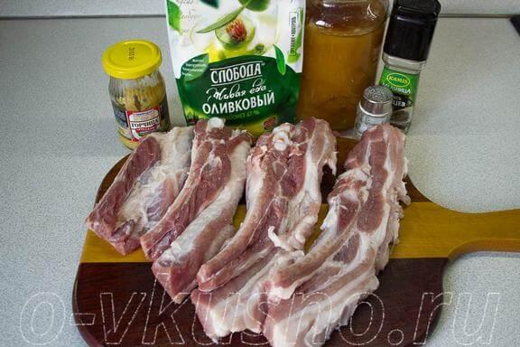 Ингредиенты для приготовления ребрышек