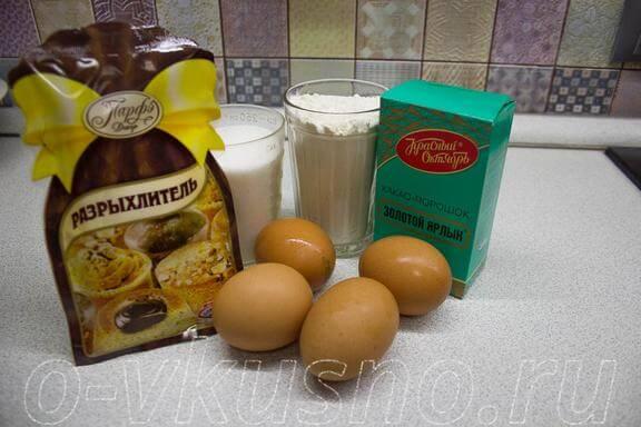 Ингредиенты для шоколадного бисквита
