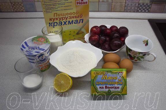 Ингредиенты для сливового тарта