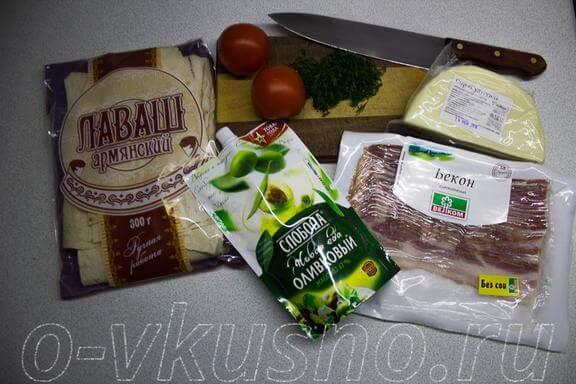 Ингредиенты для лаваша с начинкой